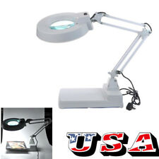 10X Loupes Glass Lens Diopter Folded Arm Desk Table Lighting LED Magnifier Lamp