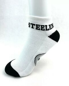 Pittsburgh Steelers Football Money Ankle No Show Socks - White