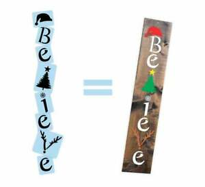 Believe Christmas Porch Stencil For Wood Sign - Reuseable Stencil - Vertical