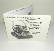 Hammond Typewriter All Models of Visible Instruction Manual Reproduction