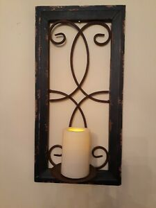 FARMHOUSE COUNTRY DISTRESSED METAL & WOOD WALL  CANDLE HOLDER SCONCE HOME DECOR