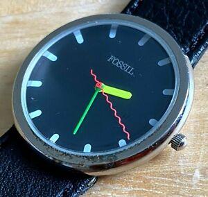 Vintage Fossil Men Silver Black Color Hands Analog Quartz Watch Hour~New Battery