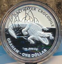 2014 Australia Graham Australian Saltwater Crocodiles $1 Silver Frosted Unc Coin
