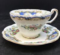 FOLEY Bone China Tea Cup Saucer Blue BROADWAY Bird Flower Mint England Porcelain