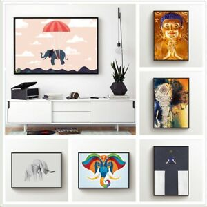 Buddha Elephant Printed Canvas Wall Art Painting Poster Home Decor Unframed