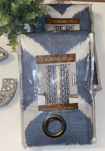 2/Elrene Home Fashion Luna Blue &White Faux Linen Grommet Panel Pairs 52X84 Each