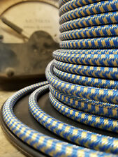 Blue & Gold Cloth Covered 3-Wire Round Cord, Vintage Pendant Lights, Flex Cable