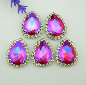 AB color Drops of water Crystal Glass Rhinestone diamond Faceted Jewels Button