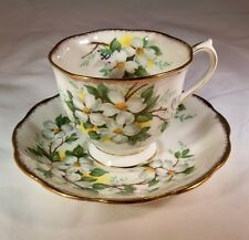 ROYAL ALBERT BONE CHINA ENGLAND VINTAGE WHITE DOGWOOD FOOTED CUP & SAUCER SET!