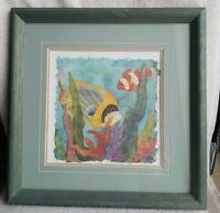 """Artist Linn Done Vintage Art Print Framed 11.3""""L X 11.3""""W Tropical Fish II"""