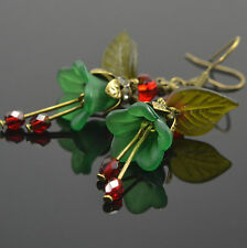 Gorgeous Emerald Green Lucite Flower Red Glass Beaded Czech Olive Leaf Earrings