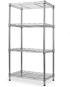 4 Tier Chrome Metal Storage Rack/Shelving Wire Shelf Kitchen/Office/Garage Unit