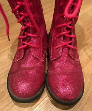 Jelly Beans Hot Pink Sparkle Glitter Lace Up Combat Boots Little Girls