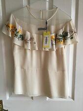 Karen Millen Cream Floral Top Size 14 New