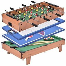 4 in 1 Pool Table Billiard Balls Cues Air Hockey Ping Pong Foosball Game Room