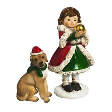 Fairy Garden Christmas Miniature - Holiday Girl And Dog
