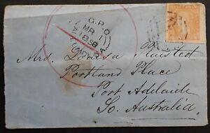 1858 Victoria Australia 6d Orange Woodblock stamp Creswick Creek-Pt Adelaide