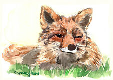 ACEO Limited Edition -Boring afternoon, Fox, Art print of original watercolor