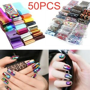 50PCS Nail Foil Decal Transfer Print Laser Sticker Nail Art Starry Tips DIY US