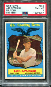 1959 Topps #560 Luis Aparicio All-Star PSA 8 ++ Centered HOF White Sox