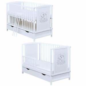 Babybett Kinderbett Schutzgitter 2in1 weiß 120x60 Bärchen mit Schublade Matratze