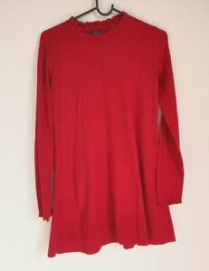 Papaya Red Jersey Jumper Dress UK Size 8 High Neck Flared Skirt