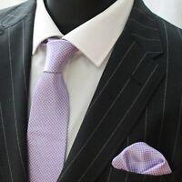Tie Neck tie with Handkerchief Lilac Check LUC37A