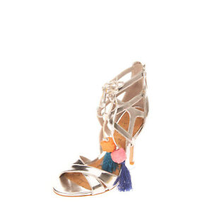 RRP €180 SAM EDELMAN Strappy Sandals Size 35 UK 3 US 5 Metallic Cut Out Beads