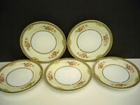 "5 NORITAKE ""PASADENA"" BREAD AND BUTTER PLATES  BLUE/TAN BORDER FLORAL  6 1/2''"