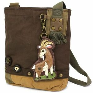 NEW Chala Messenger Patch Crossbody Bag Canvas Dark Brown GOAT Coin Purse gift