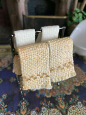 Vintage Miniature Dollhouse Museum Artisan Metal Towel Rack with Towels England
