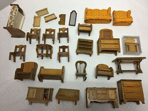 Wood Miniature Doll House Furniture Lot Bed Tables Chairs More
