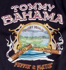 "~TOMMY BAHAMA MENS sz L EMBROIDERED ""PUFFIN & PLAYIN"" 100% SILK SHIRT~ 48"" CHEST"
