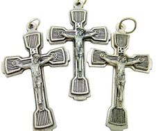 "MRT  3 Large Silver Plate Metal Ornate Crucifix Catholic Rosary Cross 1.5"" Italy"