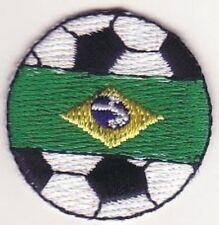"1 3/8"" Soccer Ball Futebol Brazil Brasil Flag Bandeira Embroidery Applique Patch"