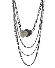 Guess Four Layer Crystal Heart White Pearl Gunmetal Statement Necklace NWT