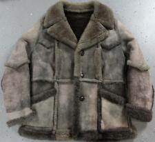 Vintage Shearling Sheepskin Mens Fur Suede Leather Jacket Coat Marlboro Size 46