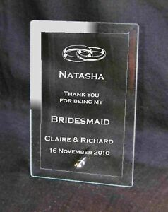 Personalised Engraved Glass Bridesmaid Gift Plaque