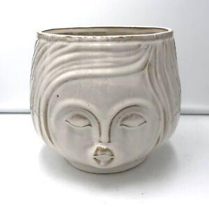 Pucker up Ceramic Vase or Flower Pot in Fancy White Womans Face
