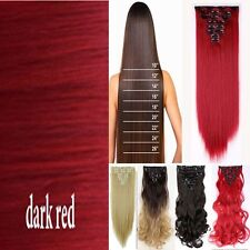 Salon 100% Real Thick Clip In Hair Extensions Long as human Full Head Hair Piece