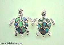 14mm Hawaiian Solid 925 Silver Paua Abalone Shells Sea Turtle Post Stud Earrings