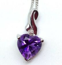 Amethyst & Diamond Heart Pendant, Solid Sterling Silver, New, Actual one. Box.