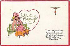 "Vintage Postcard ""Valentine Greetings"" S Bergman NY 1913, Cupid and Woman"