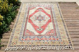 Turkish Rug 48''x72'' Oushak 4x6 Light Muted Color Wool Primitive Rug 123x184cm