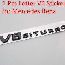 1X Side Fender Sticker Badge Emblem OEM Chrome Black Letter V8 for Mercedes Benz