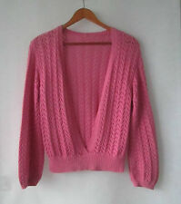 Hand Knit Jumper Top sz 8 10 Quality Cotton Musky Pink Knit - As New