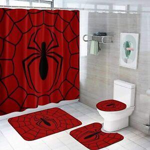 Spider-Man 4PCS Bathroom Rug Shower Curtain Bath Mat Toilet Lid Cover Sets