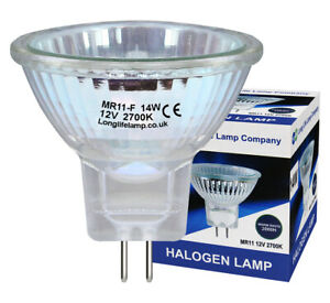 10 x 14W MR11 HALOGEN Light Bulbs 12V Low Voltage 35mm Fibre Optic Spot Lights