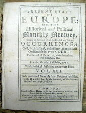 1711 newspaper w printing Peace Treaty terms Queen Annes Colonial War in America