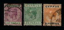 Cyprus 1921 1923  King George V  30 paras and 1½ piastres SG87-88, 91 Used